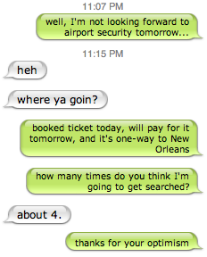 airport security IM chat