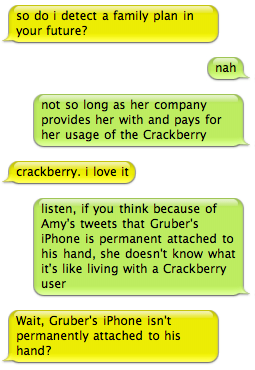 Crackberry/iPhone IM conversation