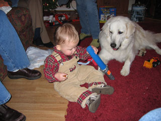Davis having fun, Christmas 2004