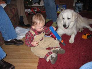 Davis having fun, Christmas 2004