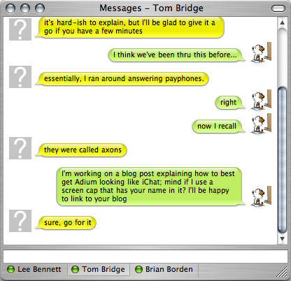 Metal Adium chat window
